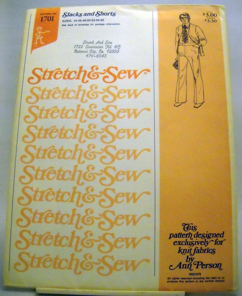 Pattern 1701 from Stretch & Sew(1975) - Men's Slacks and shorts