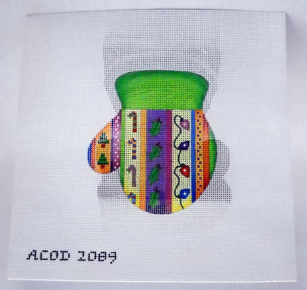 Hand Painted Canvas Needlepoint  kit from A Collection of Designs - Vertical Stripes Mitten