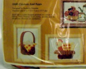 Vintage 1979 Creative Circle Crewel Embroidery Kit # 205 Chicken & Eggs