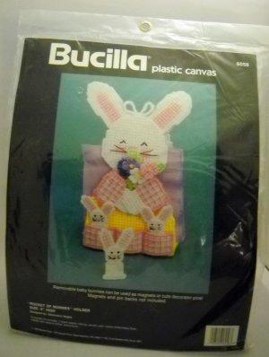 Needlepoint plastic canvas kit from Bucilla (1990) - Pocket of Bunnies napkin holder