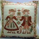 5 Vintage Tiroler Webkunst Austrian woven cotton and linen placemats of same young couple design