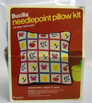 Vintage Needlepoint Pillow kit from Bucilla - Ecology Kit 4493