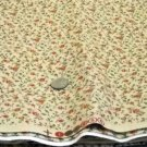 2 yds print fabric lt tan background with small rose red flowers with green stems and leaves