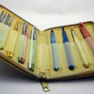 Lot of 15 Aluminum Crochet Hooks in a Zipper Case