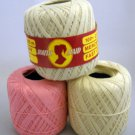 South Maid Economy 400 yd (365m) Mercerised Crochet Cotton Thread - Lot of 3