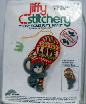 Embroidery kit from Sunset Designs Jiffy Stitchery (1978)  - Merry Mouse Plays Tennis #103