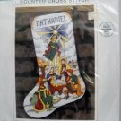 Sunset Counted Cross Stitch Kit (1993 Made in USA ) - Stained Glass Nativity Stocking #18343