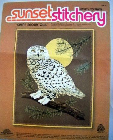Vintage Sunset Stitchery Crewel Kit  - 2404 Great Snowy Owl