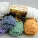 5 Partial Skeins of 100% Premium Acrylic Caron Yarn,3 oz., 4 py Assorted Colors