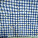 1 yd cotton fabric Cherry Berry Chickens by Sharon Yenter for In the Beginning blue and white checks