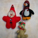 Lot of 3 Handmade Felt Stuffed Christmas Ornaments