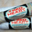 Red Heart Pompadour Yarn from Coats & Clark 2 oz (56.7 g) skeins and 1-3/4 oz(49.6) - Lot of 3 sks