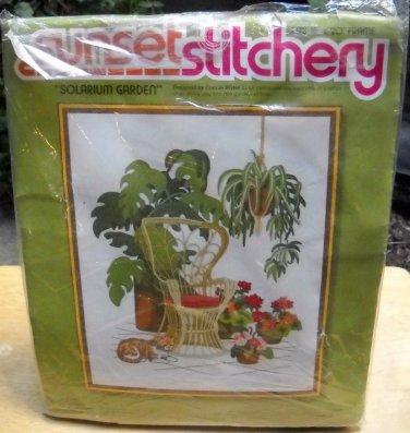 Vintage Sunset Stitchery Crewel Kit (1977)  - Solarium Garden