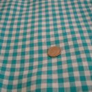 2 yds fabric woven gingham check aquamarine light and dark on white 1/4 inch checks