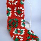"Hand Crocheted Christmas Stocking  -  Tiled in 3-1/2"" squares"