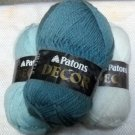 Patons Decor 75% acrylic, 25% wool -  3 skeins of assorted colors