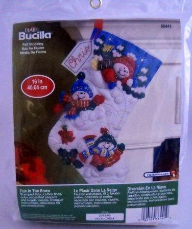 Plaid Bucilla Felt Applique Christmas Stocking Kit - Fun In The Snow 86441
