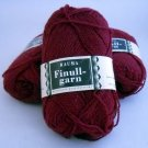 Finullgarn by Rauma 2 ply 50 g 176 m balls  - Lot of 3 balls color 499 maroon/red