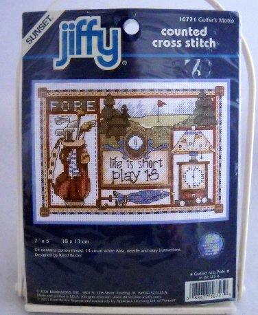 Sunset Jiffy Counted Cross Stitch Kit  - 16721 Golfer's Motto