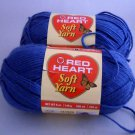 Red Heart Soft Yarn from Coats & Clark 5 oz (140 g) skein - Lot of 2 skeins color Mid blue