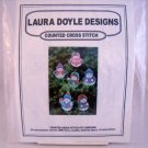 Laura Doyle Designs counted cross stitch kit D105 snowmen ornaments