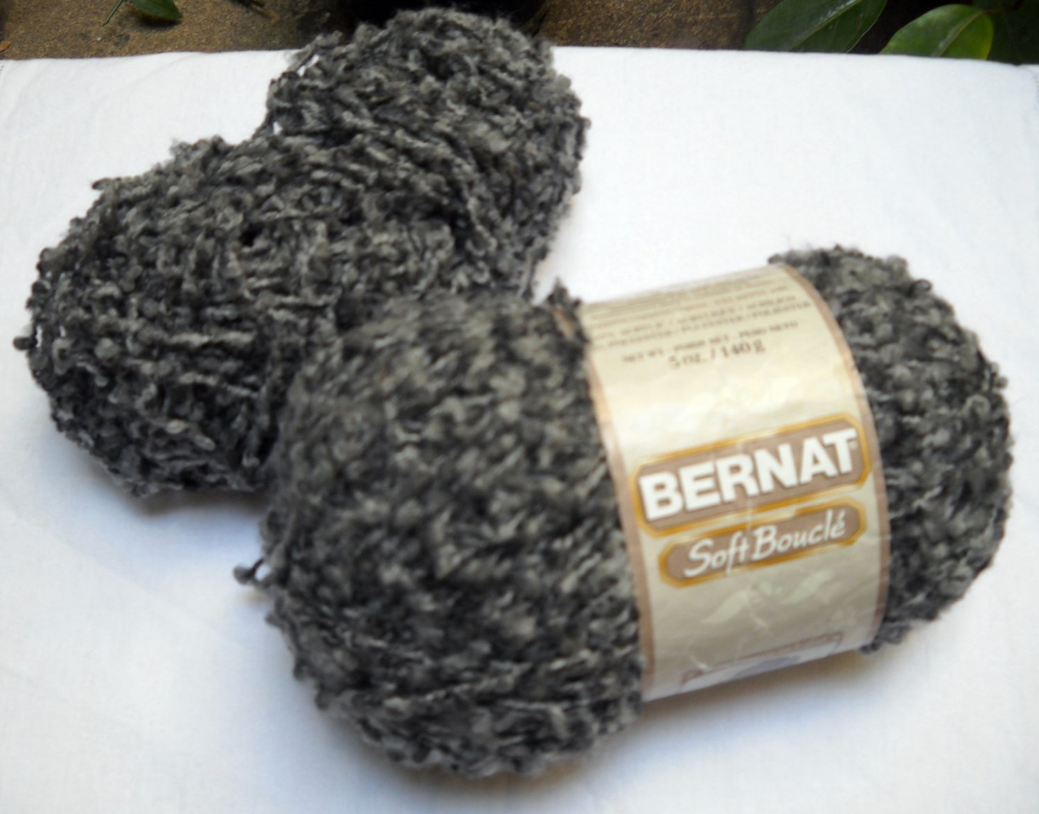 Bernat Soft Boucle 1+ Skeins of 93% Acrylic 3% Polyester 5 oz., bulky color grey shades 26928