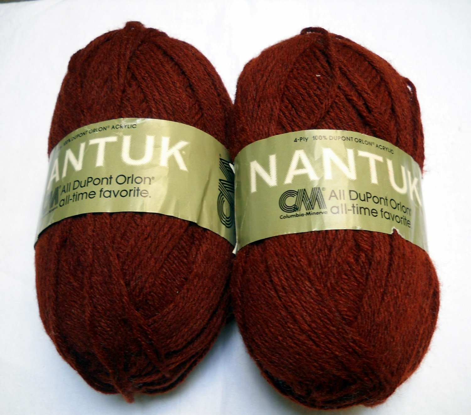 Columbia Minerva Nantuk 4 ply Yarn 4 oz skein - lot of 2 skeins dk rust  color 5995
