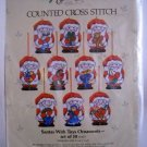 Counted Cross Stitch Kit Candamar Designs Inc. (1986 Made in USA) - Santa With Toys Ornaments 50313
