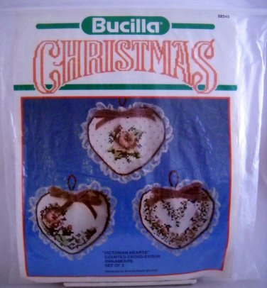 Bucilla Christmas Ornaments Counted Cross Stitch Kit - Victorian Hearts 82545