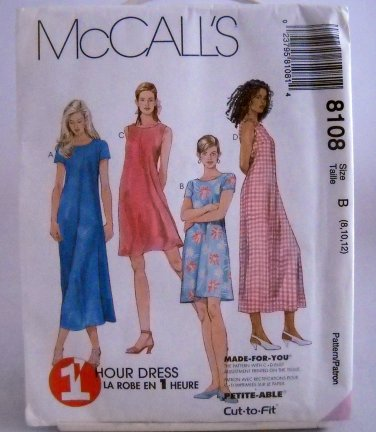 McCall's Pattern 8108(c.1996) - Size B(8,10,12) misses' dress