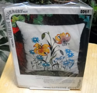 Vogart Crewel Creative Stitchery Pillow Kit (1975) - Tiger Lilies 894A