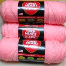 Red Heart Classic Yarn from Coats & Clark 3.5 oz (100 g) skein - Lot of 4 skeins color pink