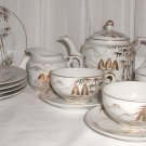 Pretty Gold and White Lithophane Tea Set - L0010
