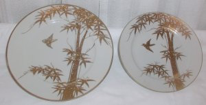 Two Pretty Gold and White Plates - M0012