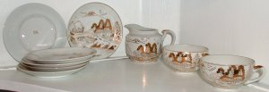 Gold and White Lithophane Cups and Saucers and Creamer - L0011