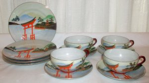 Brightly Colored Lithophane Set of 4 Cups and 4 Saucers - L0025