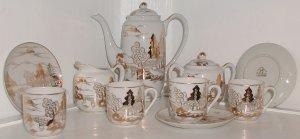 Pretty Gold and White Lithophane Tea Set - L0042