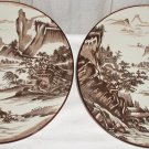 Pretty Brown and White Scene on Plates from Japan - M0029