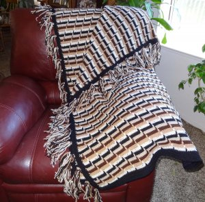 Crocheted Afghan Handmade in Shades of Brown, Black and Off White - CM001