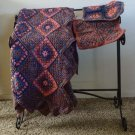 Lovely Crocheted Afghan Handmade Unique Pattern Includes Two Matching Pillow Covers - CM007