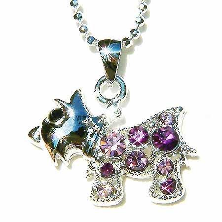 Purple Scottish Terrier Swarovski Crystal Necklace