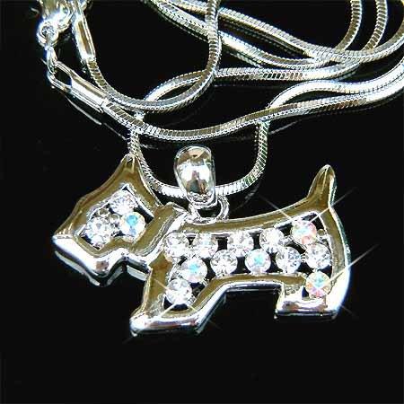 Scottish Dog Swarovski Crystal Necklace