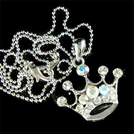 Clear Royal Princess Crown Swarovski Crystal Pendant Necklace