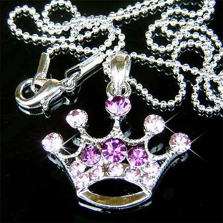 Purple Royal Princess Crown Swarovski Crystal Pendant Necklace