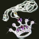 Purple Royal Princess Crown Swarovski Crystal Pendant Necklace