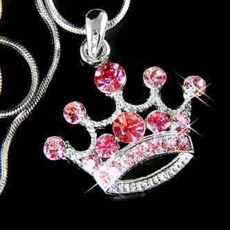Pink Crown Swarovski Crystal Royal Kingdom Pendant Necklace