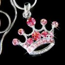 Pink Crown Swarovski Crystal Royal Kingdom Pendant Necklace