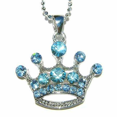 Baby Blue Royal Queen Crown Swarovski Crystal Pendant Necklace