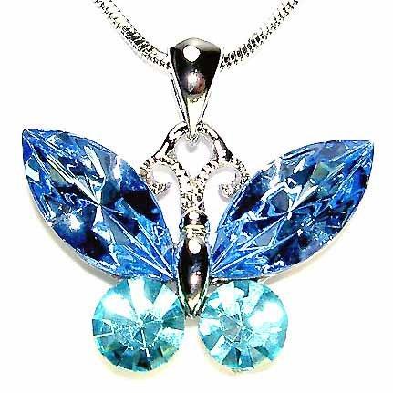 Aqua Butterfly Swarovski Crystal Bridal Pendant Necklace