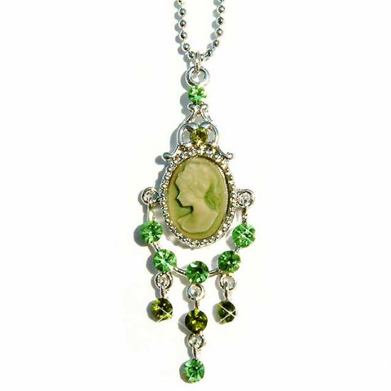 Victorian Cameo Swarovski Peridot Crystal Pendant Necklace